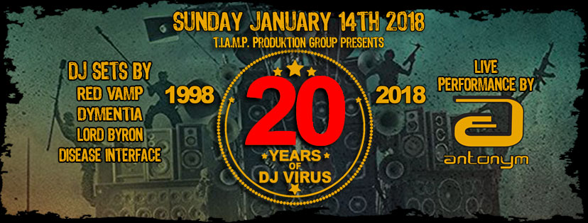 Click to view banner for 01.14.2018 Joe Virus' 20th Anniversary Party