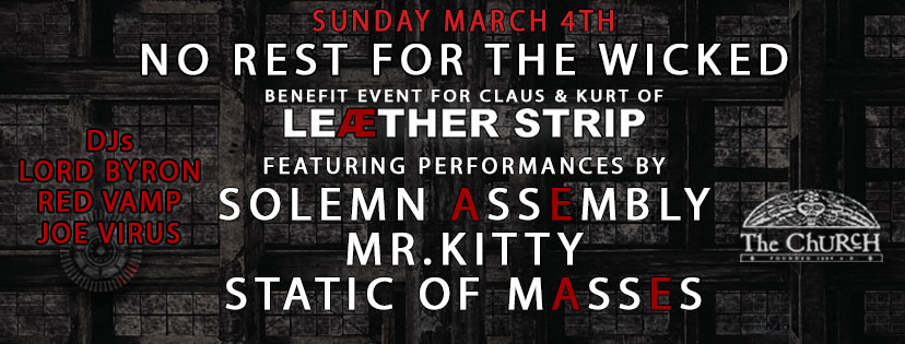 Click to view banner for 03.04.2018 No Rest For The Wicked: Benefit for Claus & Kurt of Leæther Strip