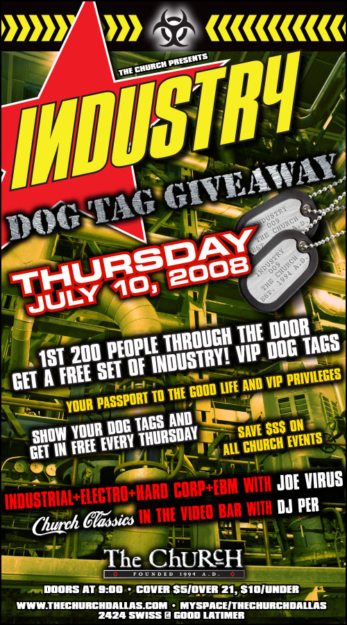 Click to view flyer for 07.10.2008 Industry Dog Tag Give away
