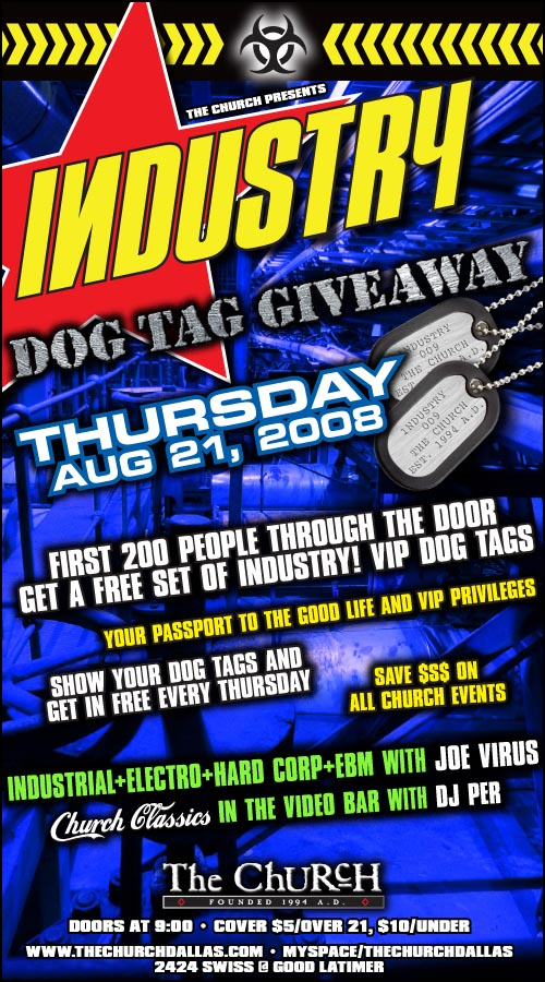 Click to view flyer for 08.21.2008 Industry Dog Tag Give away