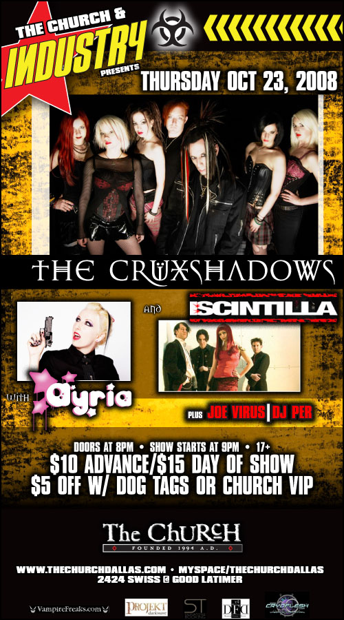 Click to view flyer for 10.23.2008 Cruxshadows w Ayria and I:Scintilla