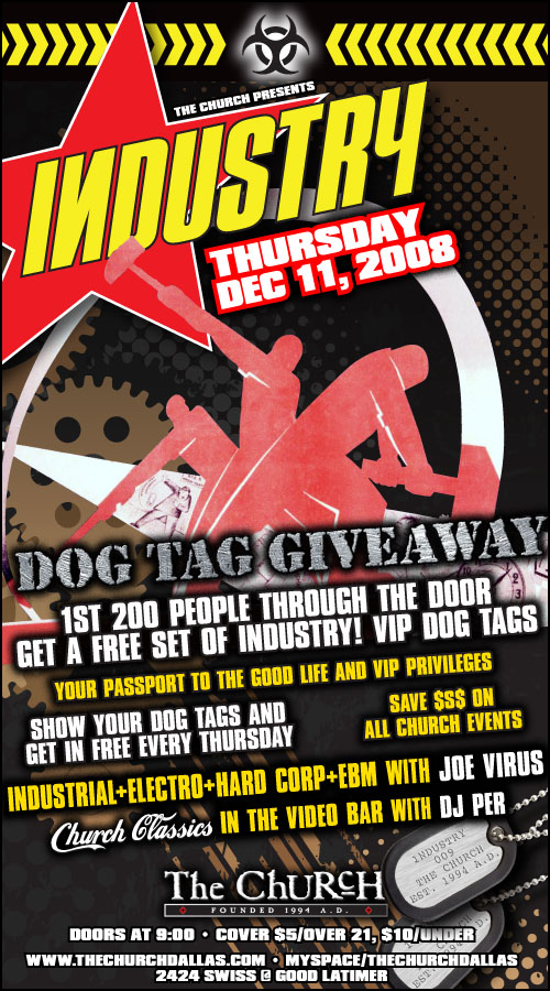 Click to view flyer for 12.11.2008 Industry Dog Tag Give Away