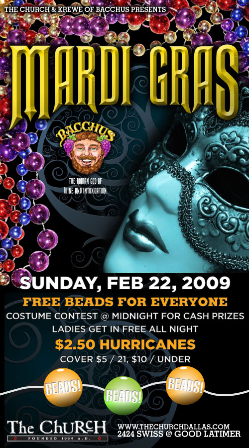 Click to view flyer for 02.22.2009 Krewe of Bacchus presents Mardi Gras