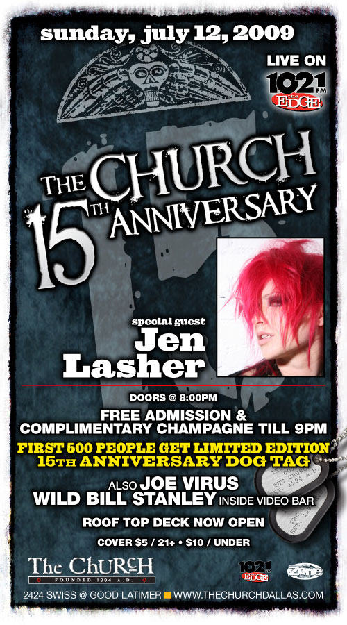 Click to view flyer for 07.12.2009 Sun: The Church 15th Anniversary