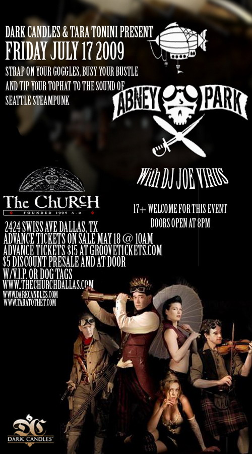 Click to view flyer for 07.17.2009 Abney Park