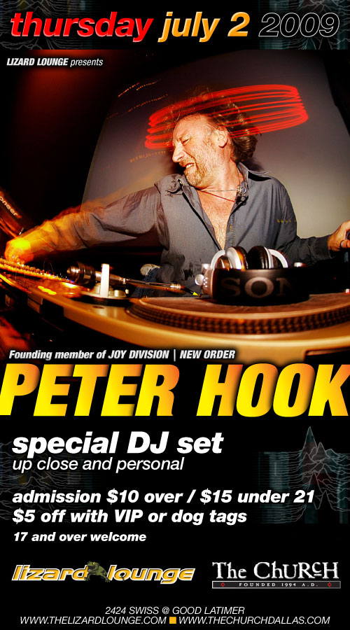 Click to view flyer for 07.02.2009 Peter Hook ... founding member of New Order