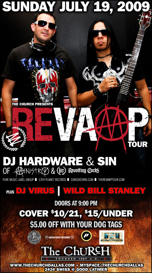 Click to view flyer for 07.19.2009 Sun: Revamp: Dj Hardware & Sin of Ministry