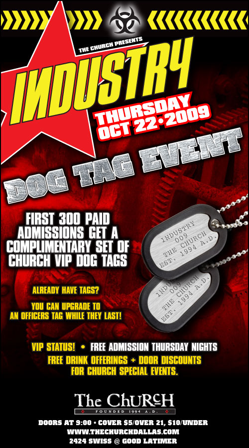Click to view flyer for 10.22.2009 Industry Dog Tag Event