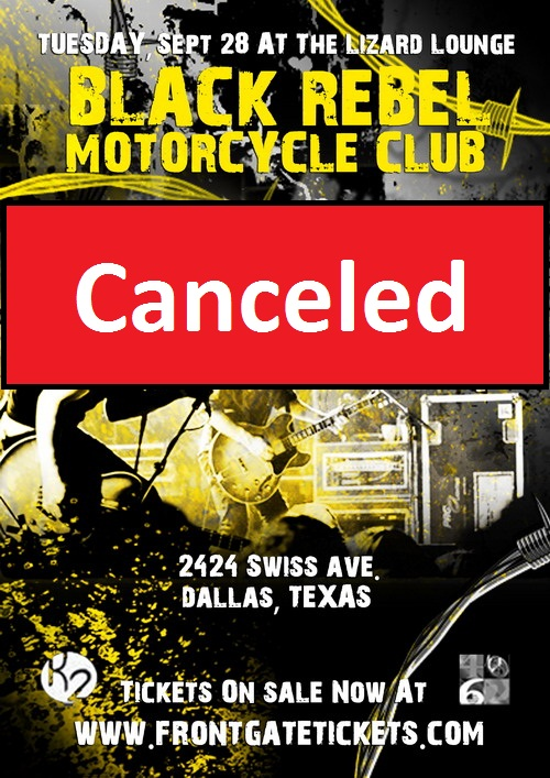 Click to view flyer for 09.28.2010 Black Rebel Motorcycle Club / CANCELED