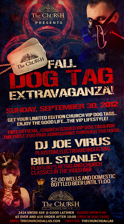 Click to view flyer for 09.30.2012 The Dog Tag Extravaganza!