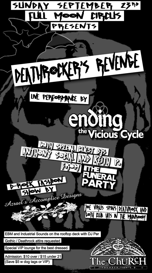 Click to view flyer for 09.23.2012 Full Moon Circus: Deathrockers Revenge