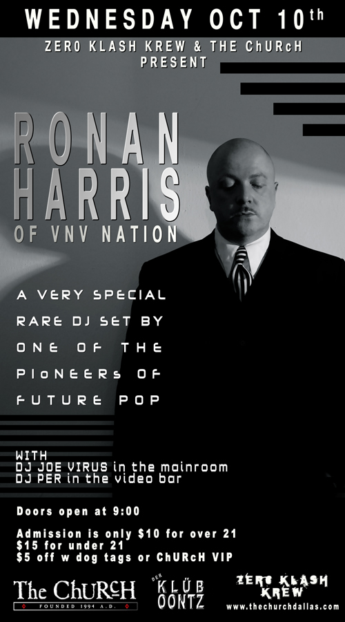 Click to view flyer for 10.10.2012 Ronan Harris / VNV Nation DJ set