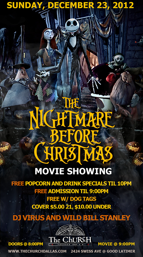 Click to view flyer for 12.23.2012 The Nightmare before Christmas