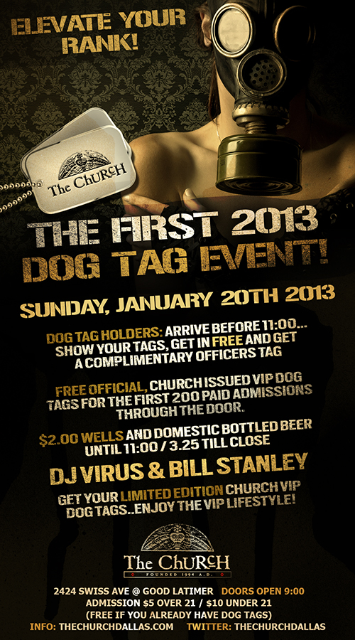 Click to view flyer for 01.20.2013 Elevate Your Rank: Dog Tag Giveaway!