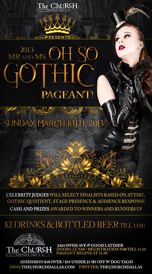 Click to view flyer for 03.10.2013 2013 Mr & Ms Oh So Gothic Pageant