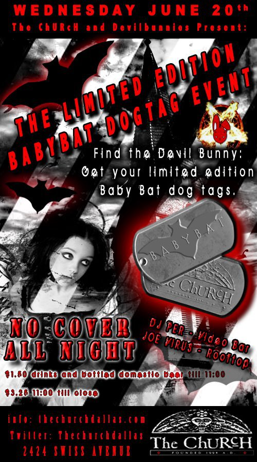 Click to view flyer for 06.20.2012 Baby Bat Dog Tag Event