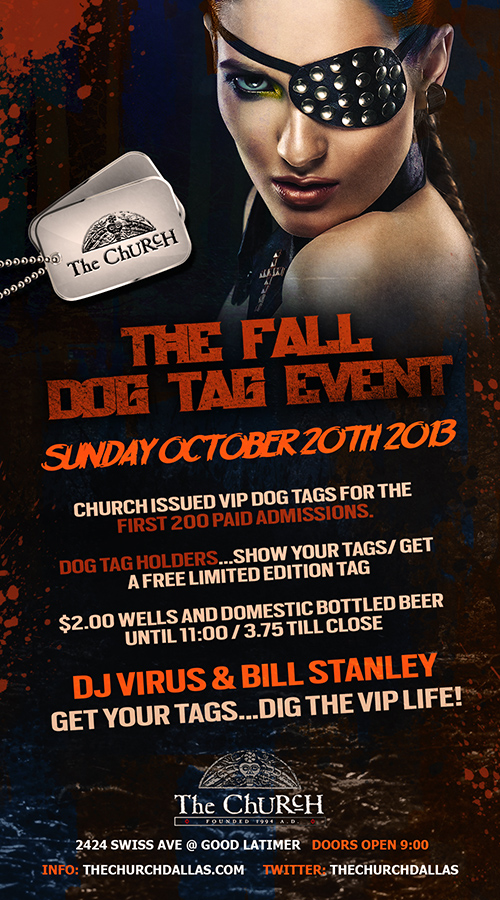 Click to view flyer for 10.20.2013 The De Luxe Dog Tag Grab
