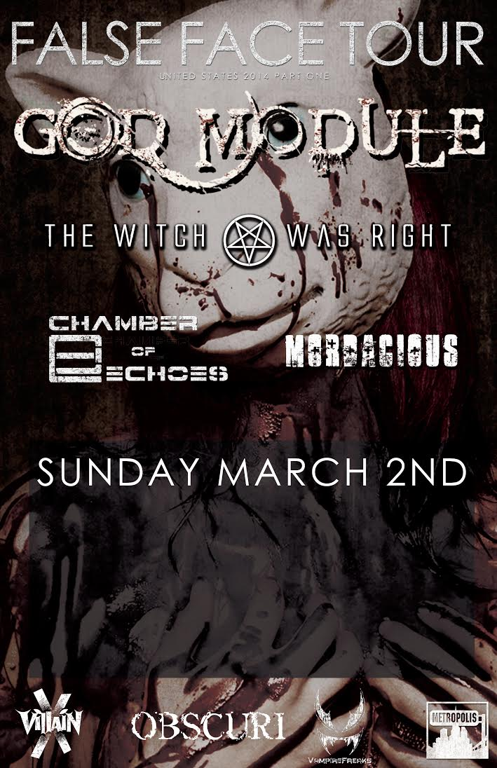 Click to view flyer for 03.02.2014 God Module, The Witch Was Right, Mordacious & Chamber of Echoes