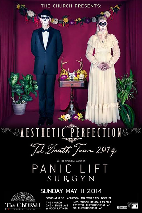 Click to view flyer for 05.11.2014 Aesthetic Perfection w Panic Lift and Surgyn