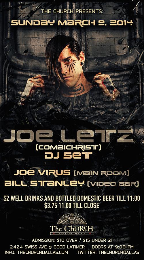 Click to view flyer for 03.09.2014 Joe Letz (Combichrist) DJ Set
