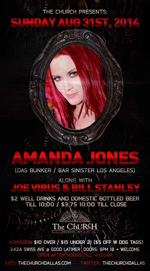 Click to view flyer for 08.31.2014 Labor Day weekend w DJ Amanda Jones (Das Bunker/ Bar Sinister)