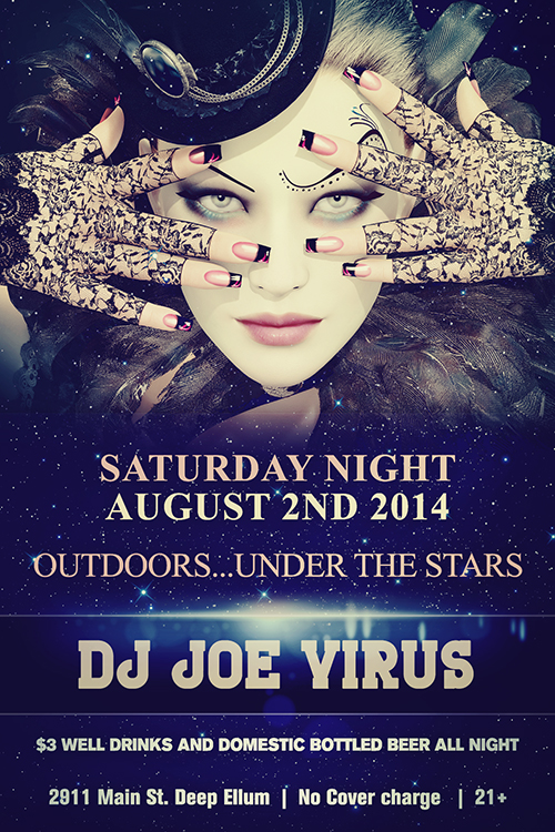 Click to view flyer for 08.02.2014 Saturday, Outdoors, Under the stars at 2911 Main