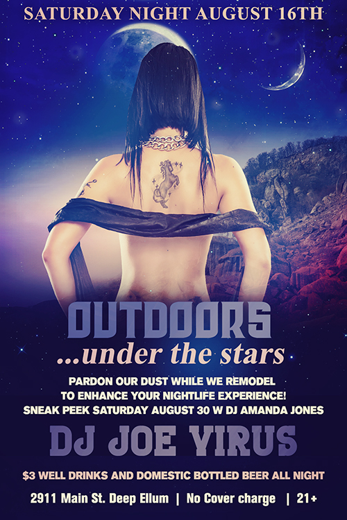 Click to view flyer for 08.16.2014 Saturday Night August 16th: Outdoors, Under The Stars