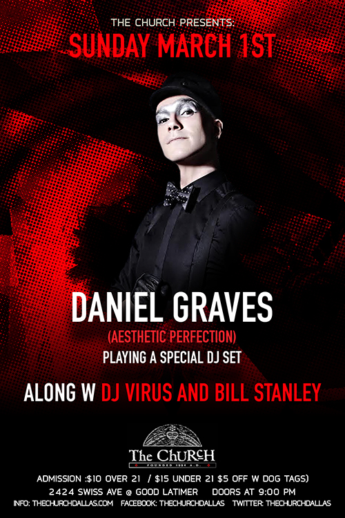 Click to view flyer for 03.01.2015 Daniel Graves (Aesthetic Perfection)