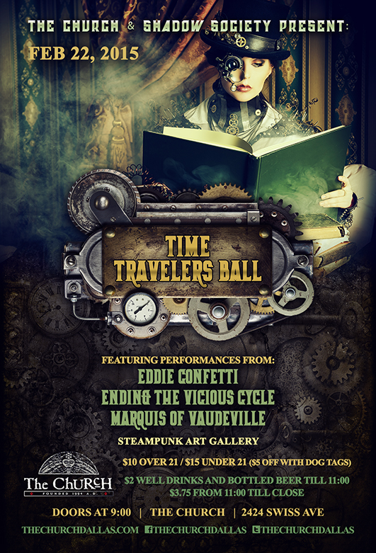 Click to view flyer for 02.22.2015 Time Travelers Ball II