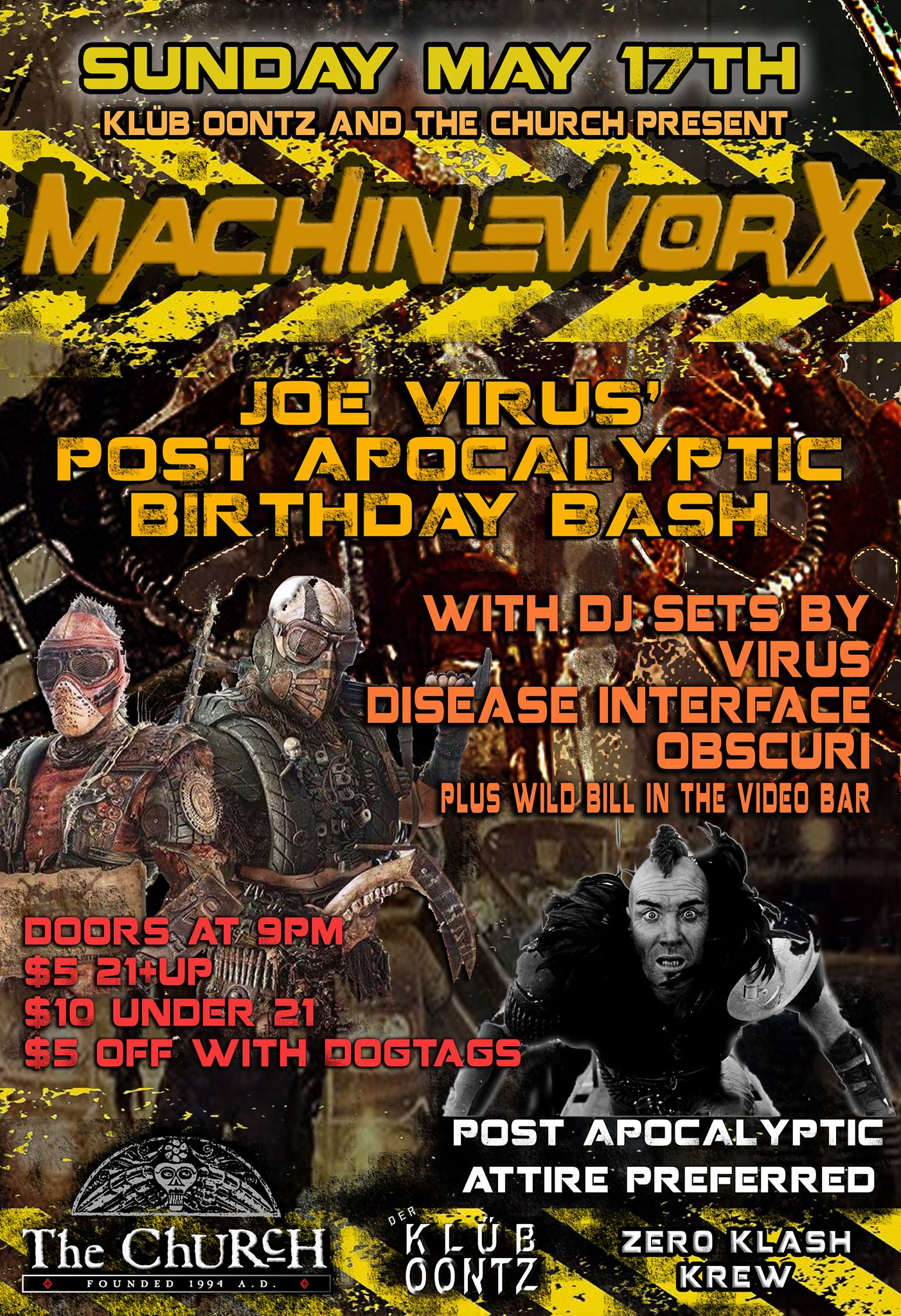 Click to view flyer for 05.17.2015 Joe Virus Apocalyptic Birthday Bash