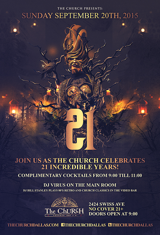 Click to view flyer for 09.20.2015 The Church presents: 21~