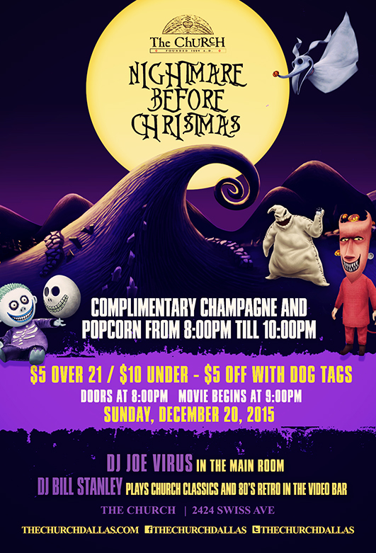 Click to view flyer for 12.20.2015 The Nightmare before Christmas