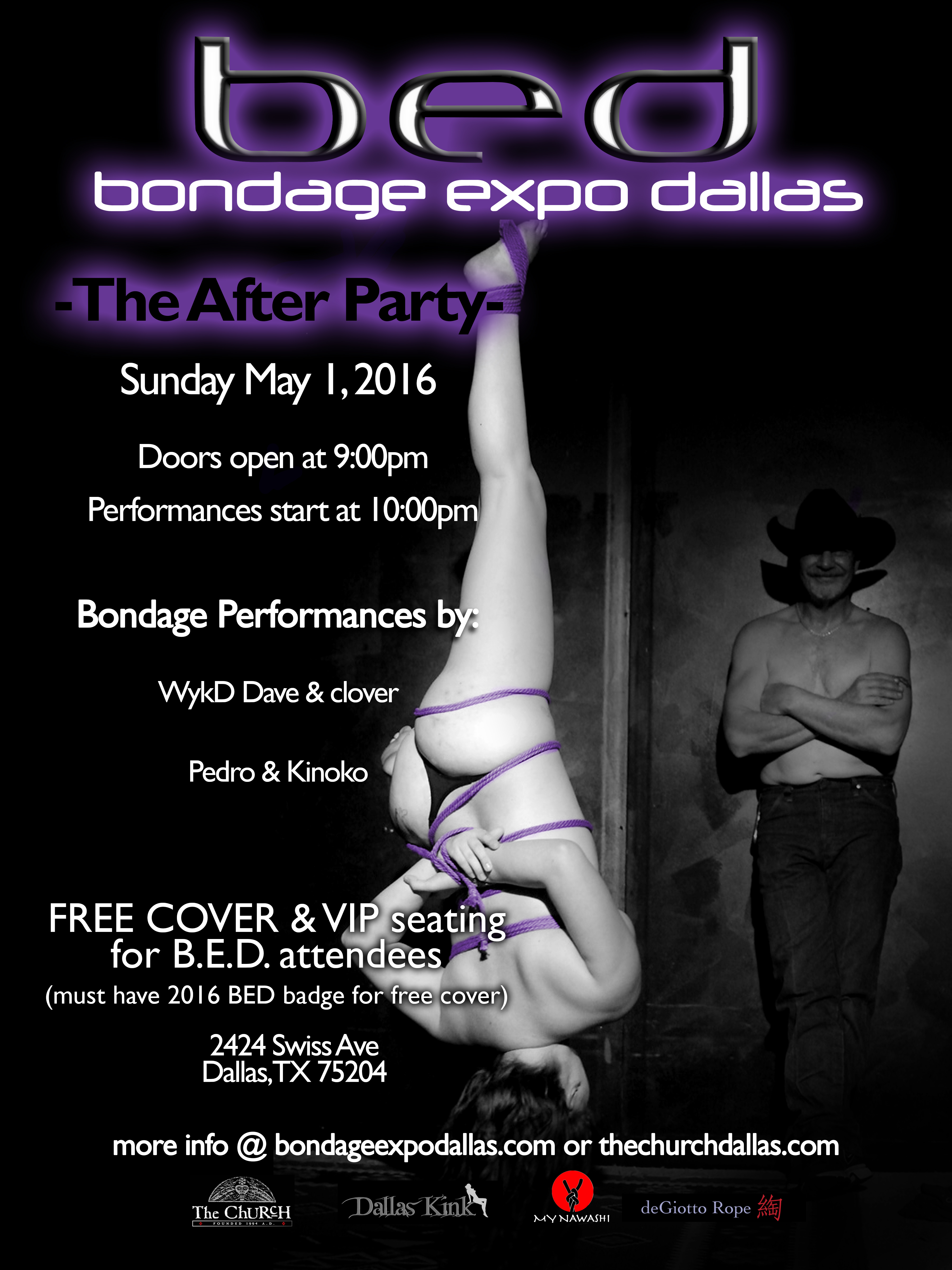 Click to view flyer for 05.01.2016 Dallas Kink presents: BED Closing Party