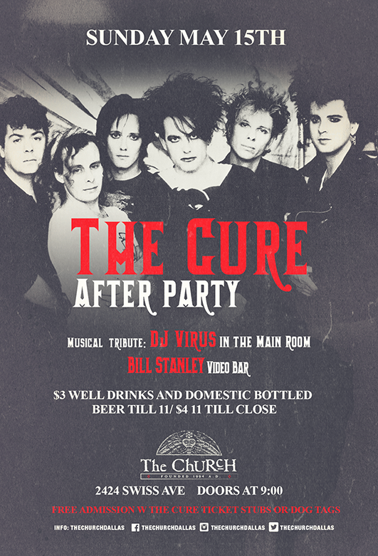 Click to view flyer for 05.15.2016 The Cure: After Party