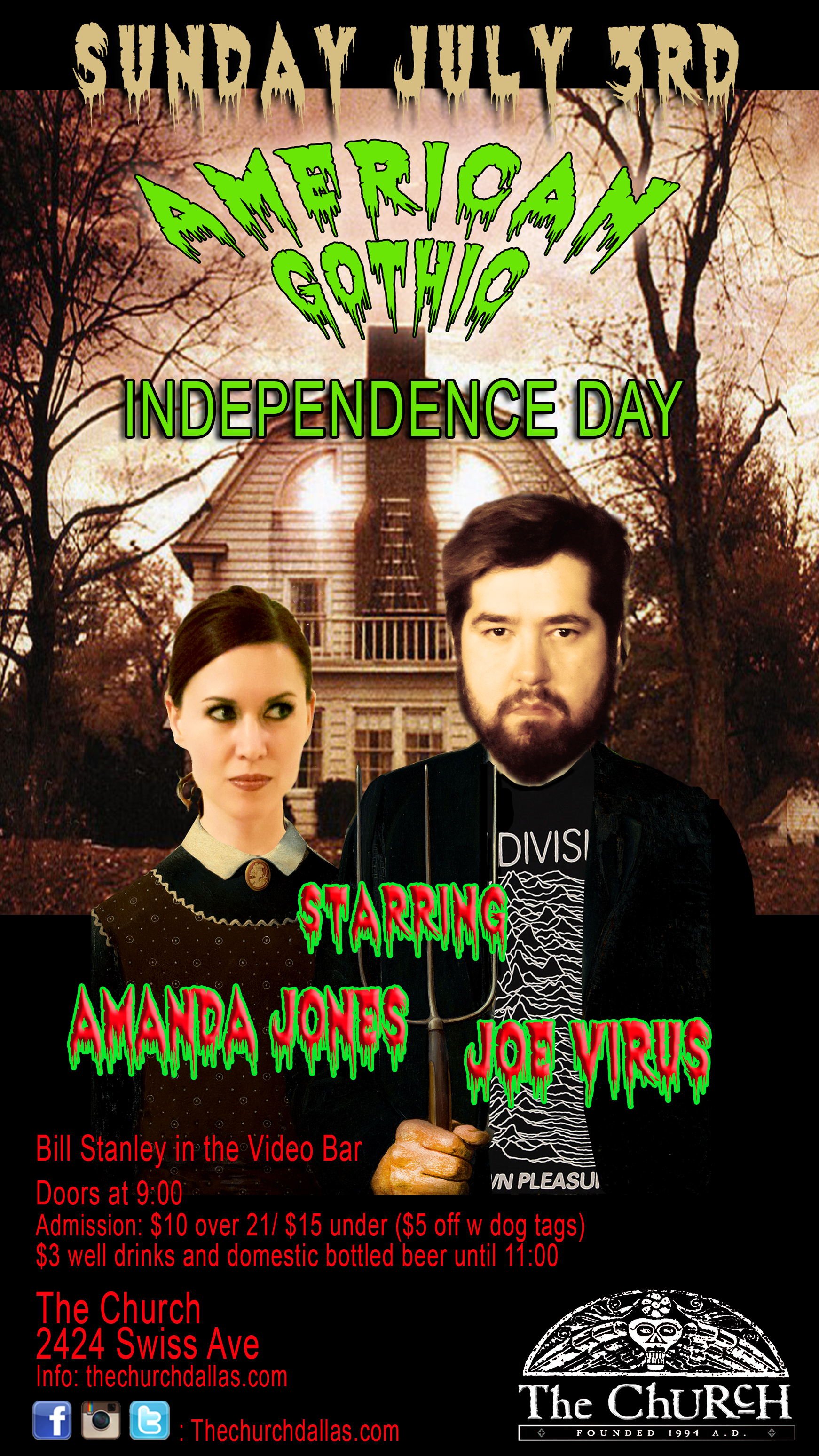 Click to view flyer for 07.03.2016 American Gothic: Independence Day w DJ Amanda Jones