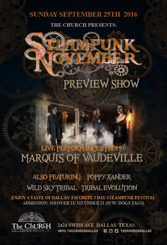 Click to view flyer for 09.25.2016 Steampunk Nov Preview Event w/ Marquis of Vaudeville