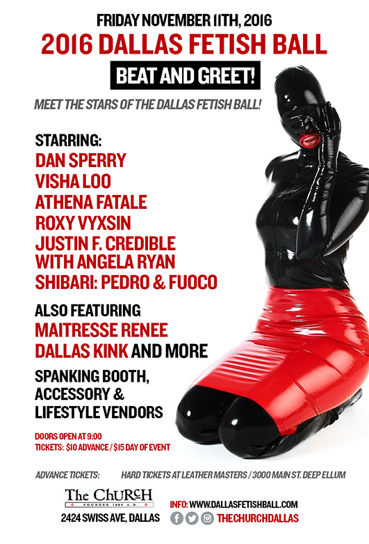 Click to view flyer for 11.11.2016 2016 Dallas Fetish Ball Opening Party : Beat n Greet