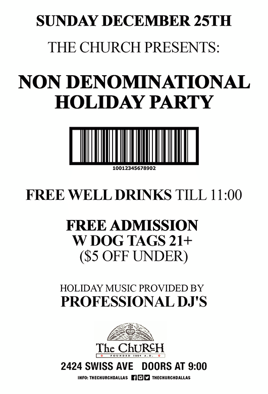 Click to view flyer for 12.25.2016 Non Denominational Holiday Party