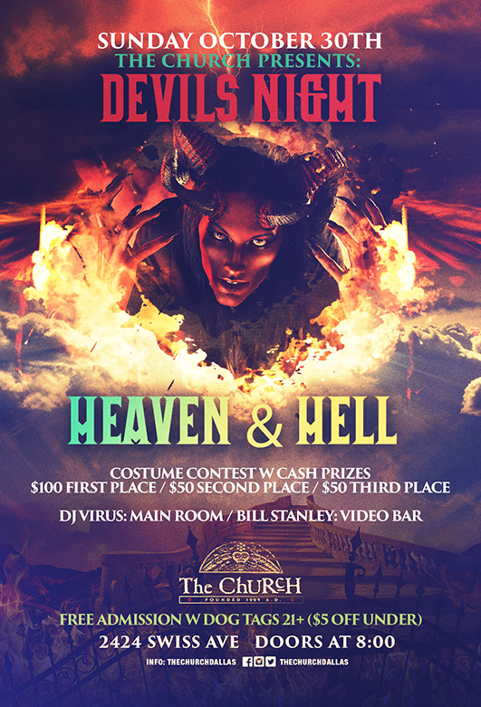 Click to view flyer for 10.30.2016 Devils Night: Heaven & Hell