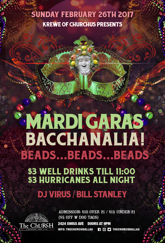Click to view flyer for 02/26/2017 Mardi Gras: Bacchanalia