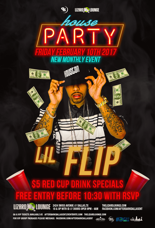 friday feb 10th 2017 house party w lil flip at the world famous