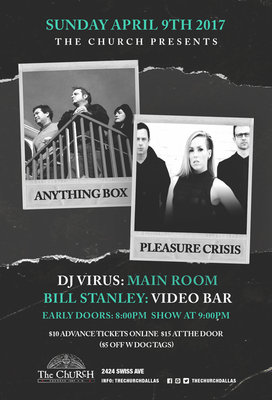 Click to view flyer for 04/09/2017 Anything Box w/ Pleasure Crisis