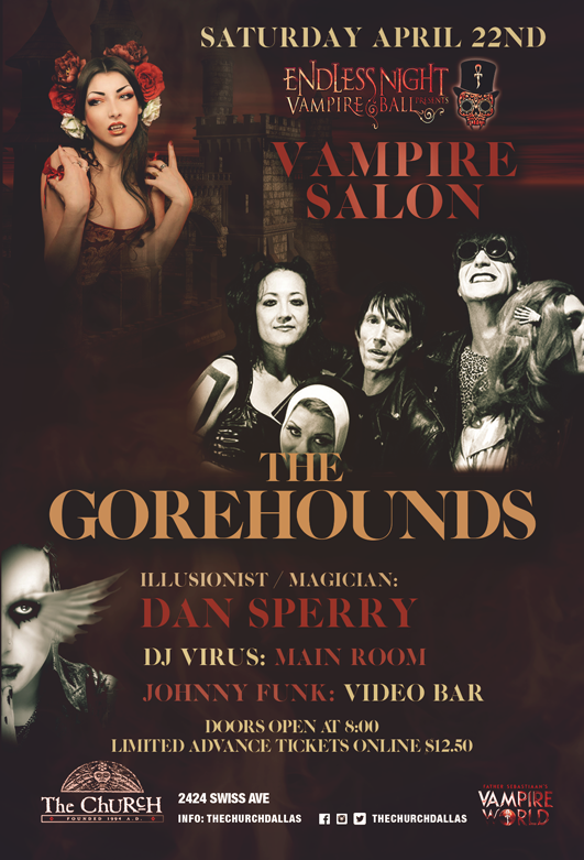 Click to view flyer for 04.22.2017 Endless Night Vampire Salon w Gorehounds / Dan Sperry