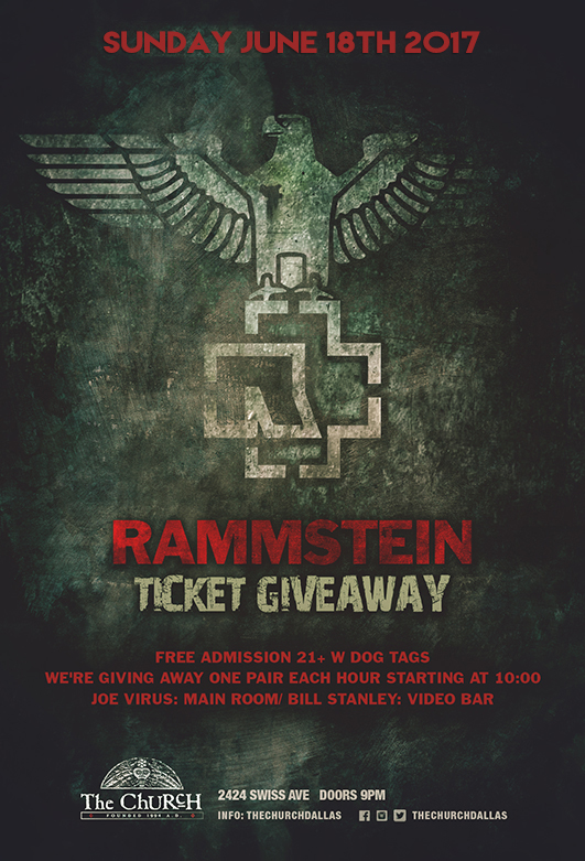 Click to view flyer for 06.18.2017 Rammstein Ticket Giveaway