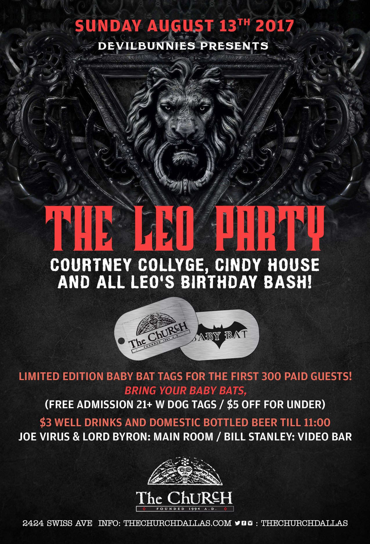 Click to view flyer for 08/13/2017 The Leo Party