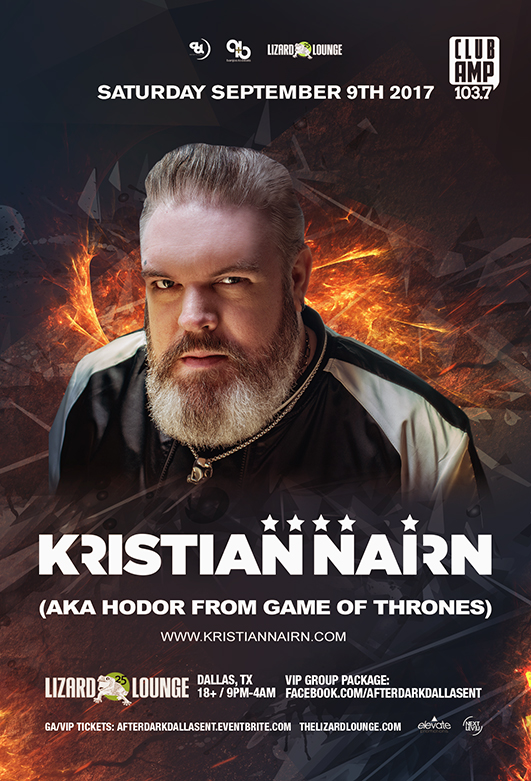 Click to view flyer for 09/09/2017 Kristian Nairn (aka Hodor) • Lizard Lounge