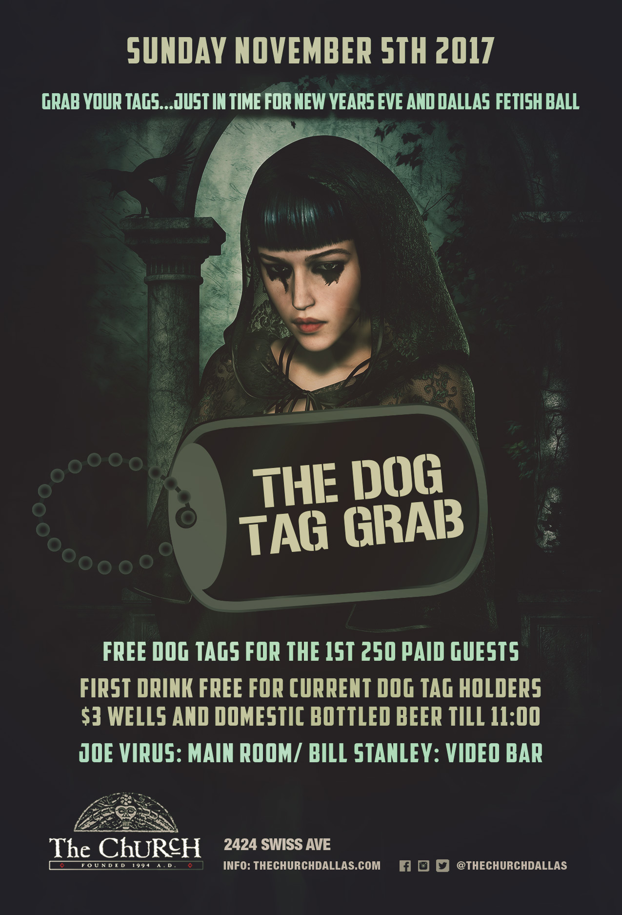 Click to view flyer for 11/05/2017 The Church: The Fall Dog Tag Grab