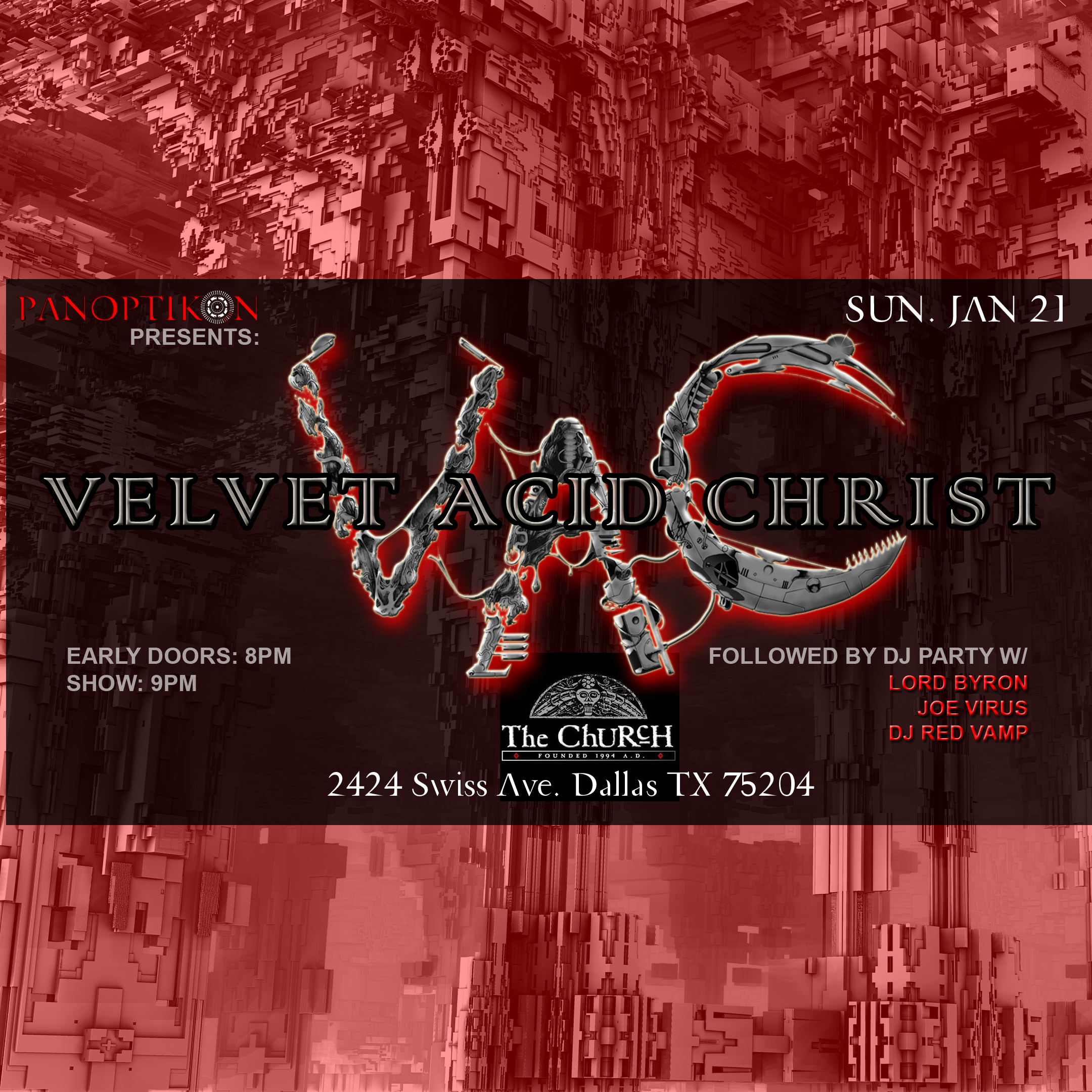 Click to view flyer for 01.21.2018 Velvet Acid Christ