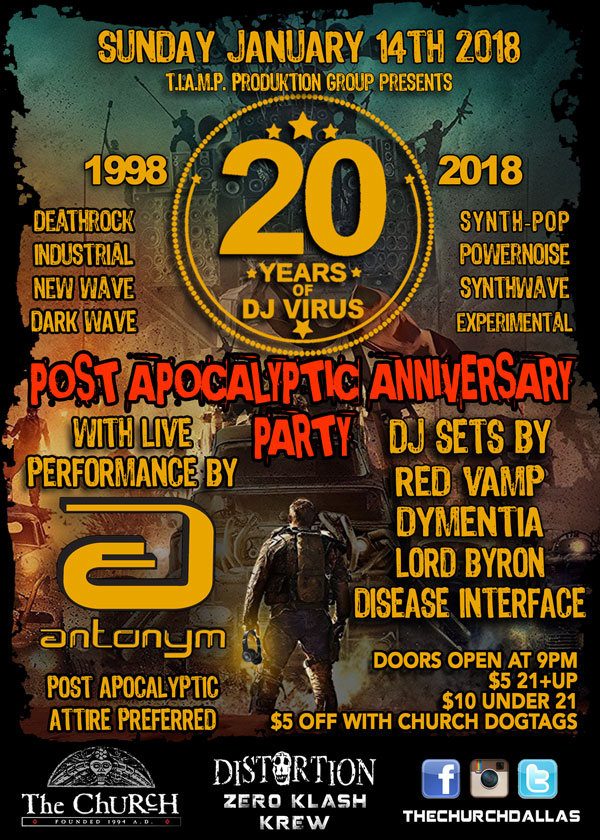 Click to view flyer for 01.14.2018 Joe Virus' 20th Anniversary Party