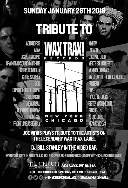 Click to view flyer for 01.28.2018 Wax Trax! Tribute